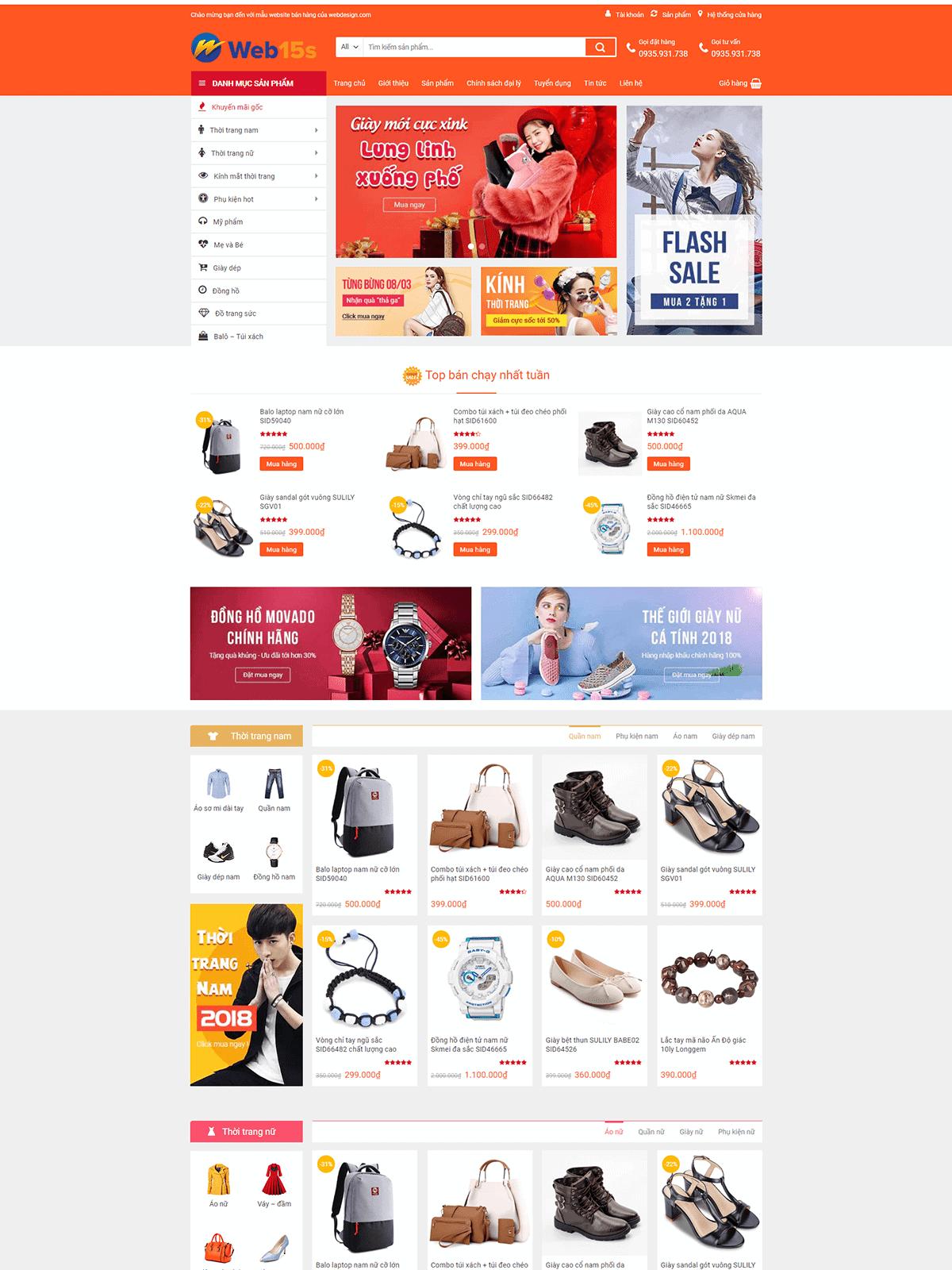 Mẫu Website Bán Thời Trang 1